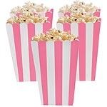 Popcorn bakjes roze streep (5st)