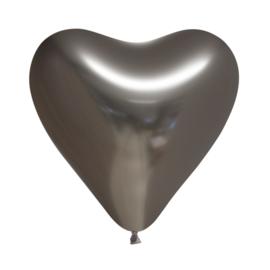 Chrome hart ballon grijs (5st)