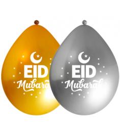 Ballonnen Eid goud/zilver (10st)