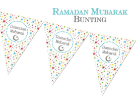 Ramadan bunting flags colored stars