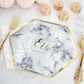 Eid plates marble gold (6pcs)