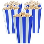 Popcorn bakjes royal blue streep (5st)