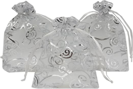 Organza pouch silver swirl (5pcs)