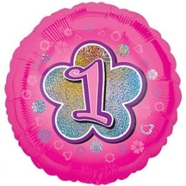 Foil balloon ONE pink flower 18""