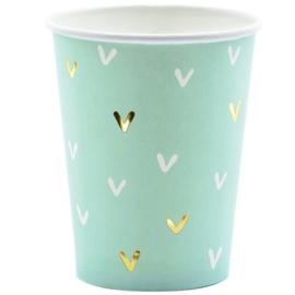 Paper cups mint green gold (6pcs)
