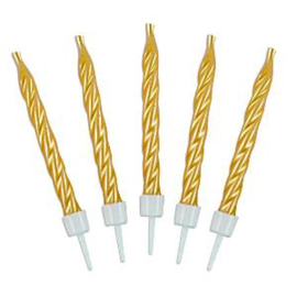 Birthday candles gold twist (10pcs)