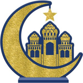 Standing wood sign moon mosque blue