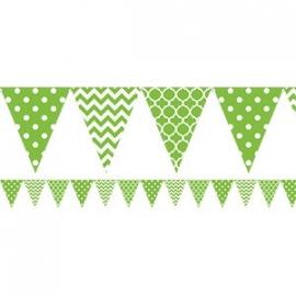 Polka chevron bunting green