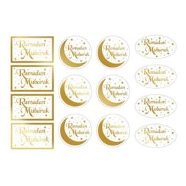 Sticker labels Ramadan goud wit (16st)