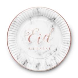 Papieren bordjes Eid wit marble (6st)