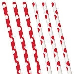 Paper straws red polka dots (10pcs)