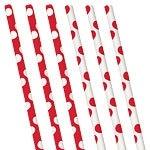 Papieren rietjes rode polkadot (10st)