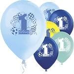 First birthday ballonnen mix blue (8st)