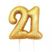 Kaarsjes goud glitter cijfer 21