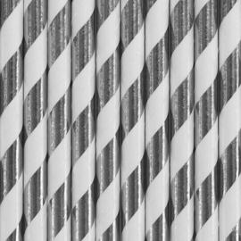 Paper straws silver foil (10pcs)