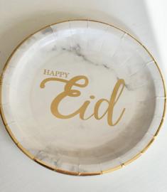 Papieren bordjes Happy Eid marble goud (10st)