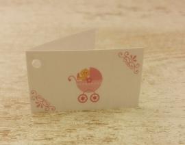 Kaartjes baby roze (10st)
