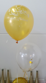 Eid ballonnen goud/wit confetti (6st)