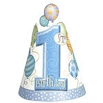 1st birthday party hats blue