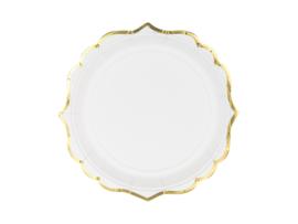 Papieren bordjes wit goud deluxe (6st)