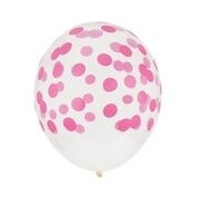 Ballonnen transparant roze stippen (5st)