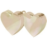Balloon weight double heart ivory