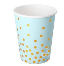 Paper cups blue gold dots
