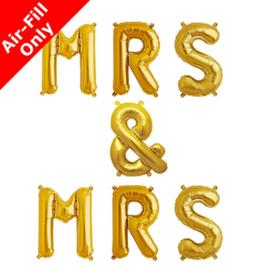 Mrs & Mrs  foil ballon goud
