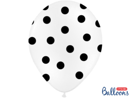 Balloons white with black dots (6st)