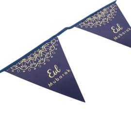 Vlaggetjes papier Eid blauw goud