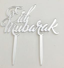 Cake topper Eid Mubarak acryl silver