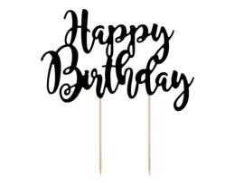 Taart topper Happy Birthday zwart
