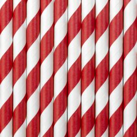 Papieren rietjes rode strepen (10st)