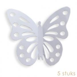 Papieren vlinders wit ( 5 stuks)