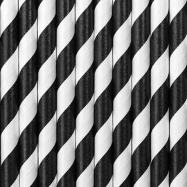 Papieren rietjes zwarte strepen (10st)