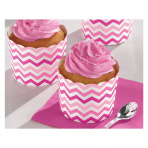 Treat cups roze chevron medium (24st)