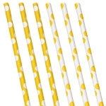Papieren rietjes gele polkadot (10st)