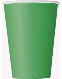 Papieren bekers donker groen groot(14st)