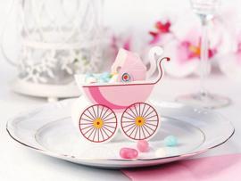 Snoepdoosje babywieg roze  (10st)