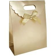 Gift bag mat goud met strikje (pst)