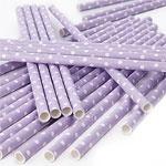 Paper straws lilac dots 25pcs)