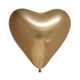 Chrome hart ballon goud (5st)