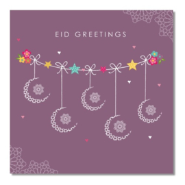 Greeting card Eid purple cresent (ea)