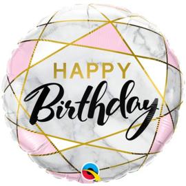 Folie ballon Happy Birthday marble gold