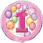 Foil balloon 1st birthday pink