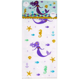 Treat bags mermaid w/header cards (12pcs)