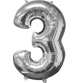 Cijfer XL ballon zilver 3