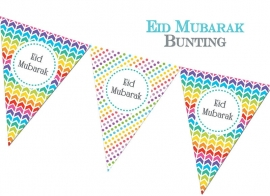 Eid bunting flags rainbow colors