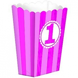 Popcorn boxes first birthday pink