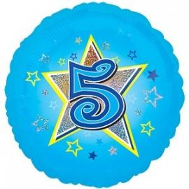 "Foil balloon FIVE blue stars 18"""